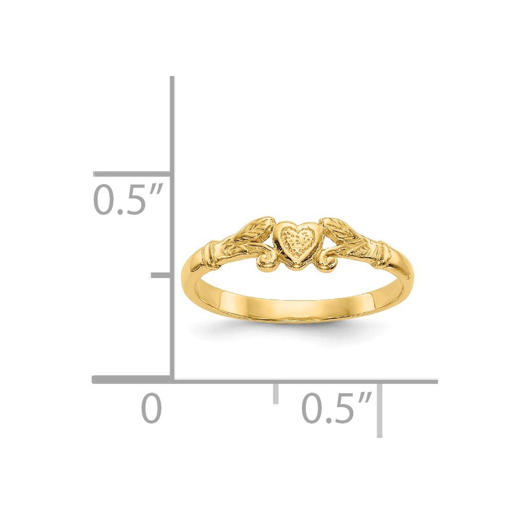 Qgold Baby and Children 14K Gold Heart Ring (Yellow-Gold) by Qgold (Image #3)