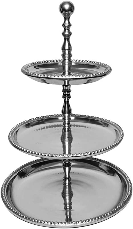 Amazon Com Kindwer 3 Tier Beaded Aluminum Stand 22 Inch Silver Cake Stands Tiered Trays Platters