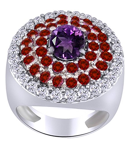 (AFFY Simulated Amethyst, Pink Tourmaline & White Cubic Zirconia Cluster Ring in 925 Sterling Silver (3.61 Cttw))