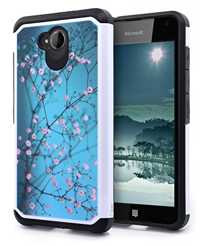 Lumia 650 Case, NageBee Design Premium [Heavy Duty] Defender [Dual Layer] Protector Hybrid Case for Microsoft Lumia 650 (Hybrid Plum Blossom) 650 Hybrid