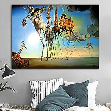 yiyiyaya Salvador Dali Lienzo Pintura Arte Abstracto Caballo, Elefante clásico Pared Arte Cuadros para Sala de Estar decoración del hogar impresión 23.6x29.5inch