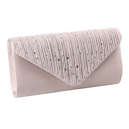Bag Clutch Classic Ladies Pleated Apricot Clutch Rhinestone Envelope Purse UNYU Evening Handbag Satin twBIXqXx