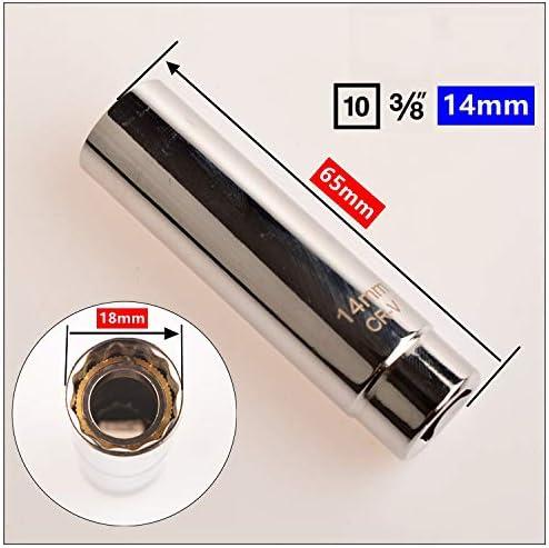 65mm Magnetic Spark Plug Socket Wrench 3//8 14MM Spark Plug Socket Removal Tool