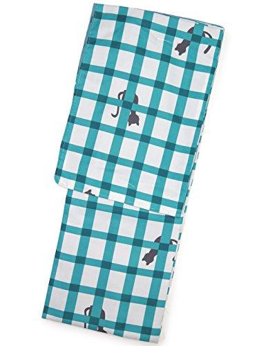洗える着物 袷 小紋 レディース Lサイズ お仕立て上がり「グレー系×青緑 猫に格子 」HAL610