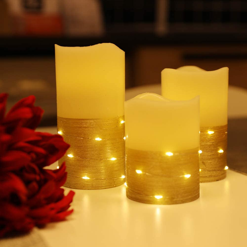 Flickering LED Candle Set with Daily Timer,BeMoment Flameless Candles,Embedded String Lights Stay Lit,Golden Stripes Decorative,Real Wax,Battery Powered,Set of 3(H 4