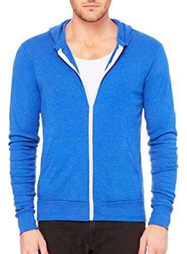 Triblend Lightweight Hoodie (Royal TriBlend) (Large) (Royal Canvas Blue)