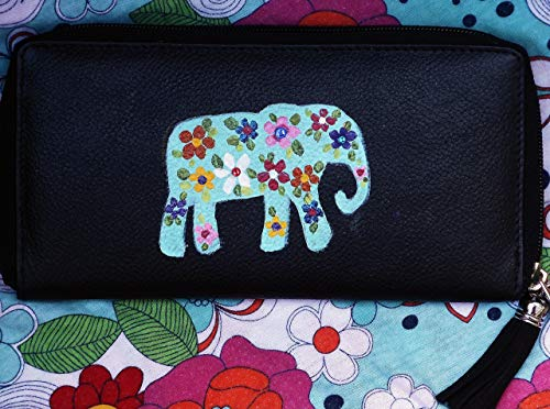 Hand Painted Long Black Leather Zipper Zip Around Boho Elephant Wallet for Women with Suede Tassel - Hand Painted Black Leather