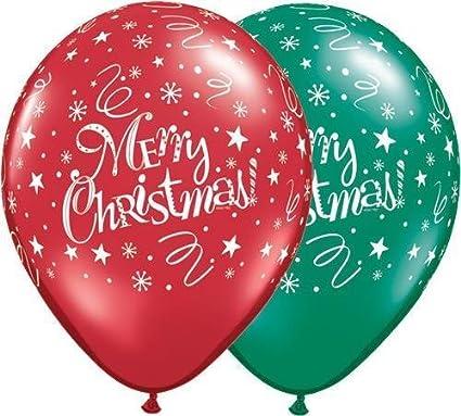 "10 x Christmas Presents /& Stars Red /& Green 11/"" Qualatex Latex Balloons"