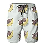 Men's Sloth Banana Quickly Drying Lightweight Fashion Board Shorts Swim Trunks L