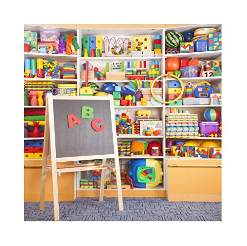 OFILA Kids Toys Store Backdrop 7x7ft Back to School Photography Background Blocks Balls Blackboard Preschool Events Online Class Background School Day Video Studio Props]()
