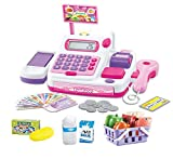Kids Electronic Cash Register Till Toy Shop Supermarket Pretend Play Learning Game with Working Calculator, Scanner, Card, Play Food