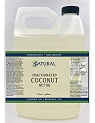 Fractionated Coconut Oil-MCT Oil, 6 Sizes Available, Certified Food and Therapeutic Grade, Carrier Oil, Massage Oil, Hydrating Oil, Hair Oil, Organic Coconut, Pure Coconut Oil (128 Ounce (1Gallon))