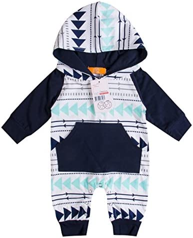 H.eternal Baby Romper Boy Girl Floral Long Jumpsuit Hoody Outfits Bodysuit Coveralls Sleepsuit Costume One Piece Zip up Bodysuit Footless Sleep and Play Playsuit Clothes