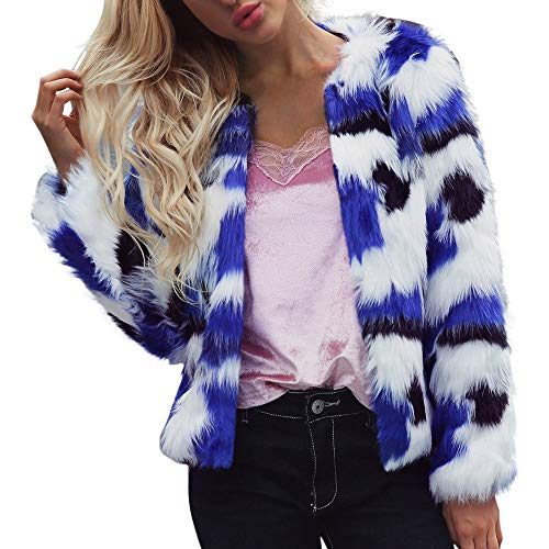 Faux Fur Jacket, Misaky Women's Autumn Winter Warm Coat Gradient Color Parka Outerwear(Blue , Medium) (Fur Boot Faux Sleeve)