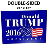 "LARGE 24"" x 18"" DOUBLE SIDED Donald Trump Yard Sign - Waterproof - Yard Stakes Included - 2016 President - Rally Signs"