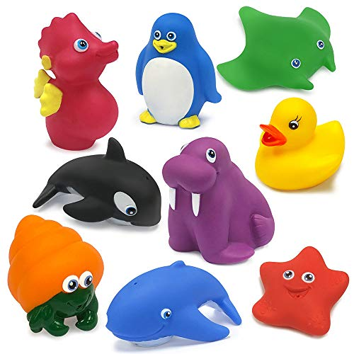 Kidline Ind 9 Piece Bath Time Ocean Animal Squirting Toys ()