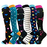 Compression Socks For Men & Women - 3/6 Pairs - Best for Running,Medical,Sports,Flight Travel, Pregnancy - 20-25mmHg (Large/X-Large, Mix of Colors-4(6 Pairs))