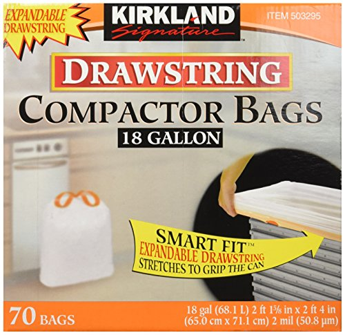 Price comparison product image Kirkland Compactor Bags, 18 Gallon, Smart Fit Gripping Drawstring, 70 ct