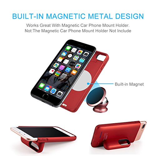"""iPhone 8 plus / 7 plus / 6 plus / 6S plus Battery Case, Ultra Thin Rechargeable iPhone 7plus / 6 plus / 6S plus Case Battery with 4200mAh Capacity from SUNWELL (5.5"""" Red) by SUNWELL (Image #6)"""
