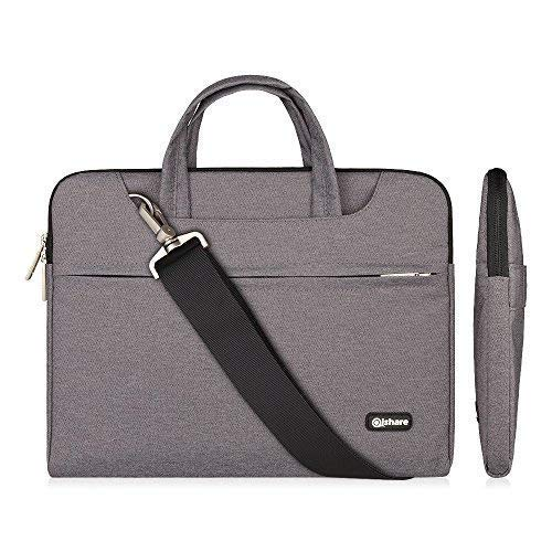 Qishare 15 15.6 16inch Laptop Case, Laptop Shoulder Bag, Multi-Functional Notebook Sleeve, Carrying Case with Strap for Chromebook MacBook HP Stream Samsung Acer Asus Dell Lenovo (15.6-16'', Gray)
