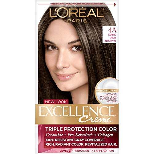 L'Oréal Paris Excellence Créme Permanent Hair Color, 4A Dark Ash Brown, 1 kit 100% Gray Coverage Hair Dye