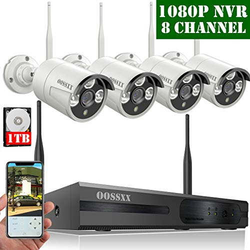 【2019 Update】 HD 1080P 8-Channel OOSSXX Wireless Security Camera System,4Pcs 720P(1.0 Megapixel) Wireless Indoor/Outdoor IR Bullet IP Cameras,P2P,App, HDMI Cord & 1TB HDD ()
