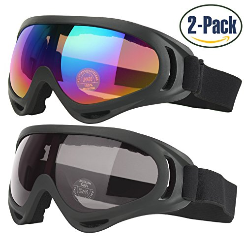 Ski Goggles, 2-Pack Skate Glasses for Kids, Boys & Girls, Youth, Men & Women, with UV 400 Protection, Wind Resistance, Anti-Glare Lenses, made by COOLOO (Youth Skis)