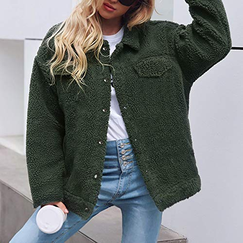 Botones Verde Chaqueta Abrigo Sólida Cardigan Bolsillos Para Mujer Invierno Con Logobeing Tops Parka Outerwear Suéter Abrigos YgxZAn