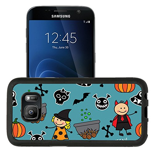 Luxlady Sparse Samsung Galaxy S7 Aluminum Backplate Bumper Snap Case IMAGE ID: 32098520 Halloween seamless pattern with boiler barbarity pumpkins and other symbols of the holiday