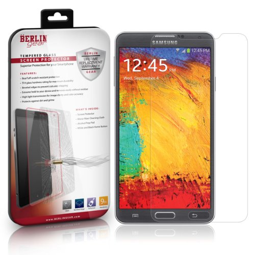 Berlin Gear Samsung Galaxy Note 3 Thin [.33mm] Crystal Clear Tempered Glass Screen Protector (1-Pack)