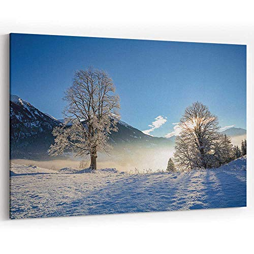 Dreamy Winter Landscape in Austrian Alps Near Salzburg Canvas Art Wall Dector for Home Decor (Best Lakes Near Salzburg)