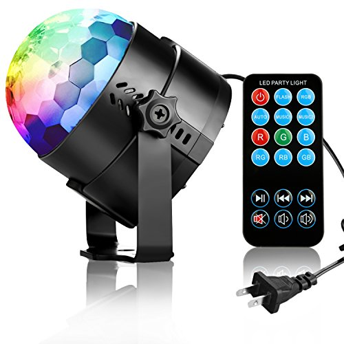 Nearby Party Supplies - COIDEA Disco Ball Strobe Light Party Lights Disco Lights Karaoke Machine 3W Dj Light LED Portable 7Colors Sound Activated Stage Lights for Festival Bar Club Party Outdoor and More (with Remote)