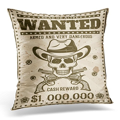 SPXUBZ Wanted Vintage Western with Cowboy Skull in Hat Crossed Guns Bullet Holes for Thematic Party Event Decorative Home Decor Square Indoor/Outdoor Pillowcase Size: 18x18 Inch(Two Sides) ()
