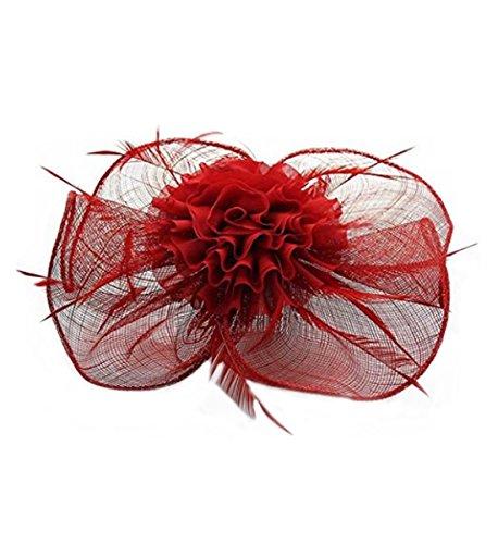 rouge Hat Comb Mesh Fascinator Races Taille Clip Wedding Sac Qualité Elegance Hairclip Cwha004 Feather Leahward®petit De cwh0078 Veil Femme CUS8gwgq