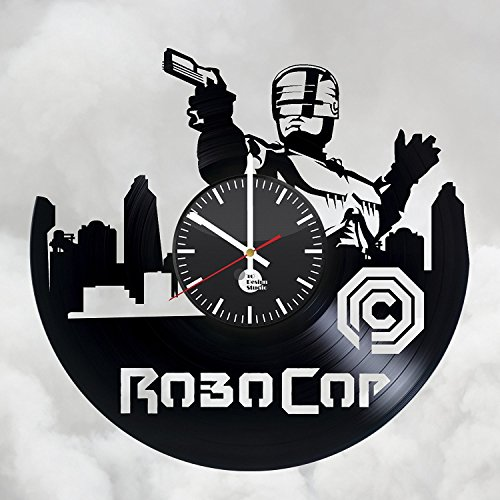 (basalt dStudio - Wall Clock - Unique design Vinyl Clock - RoboCop Movie Xbox Video Game Handmade Vinyl Record Wall Clock Vintage Unique)