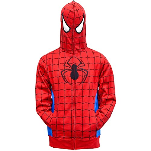 Spider-Man - Mens Hidden Parker Costume Zip Hoodie X-Large Red (Spider Man Jewelry)