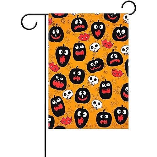 Riuiana Garden Flag 12 x 18 inches Decoration Double Sided Cartoon Halloween Skull Pumpkin Welcome Flags ()