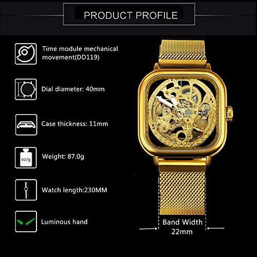 Caluxe Engrave Mechanical Wristwatch for Women Men Automatic Self-Winding Watch Luminous Hands Mesh Band