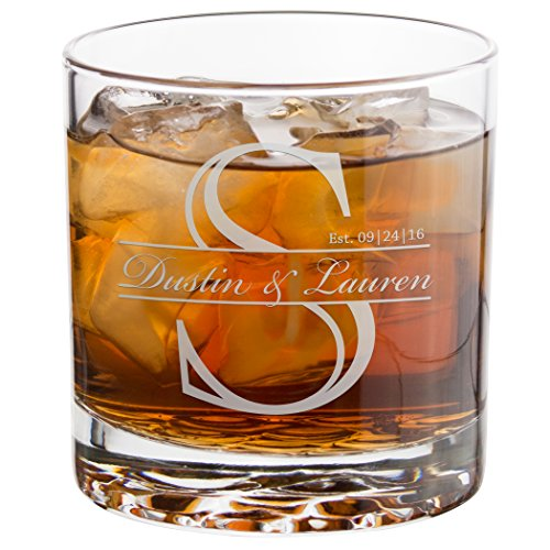 Everything Etched Personalized Whiskey Glass, Monogrammed Old Fashioned Crystal Rock Drinking Glasses 10 Oz - Custom Laser Engraved Bourbon, Scotch Glasses Gifts