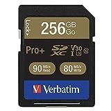 Verbatim 256GB Pro Plus 600X SDXC Memory Card, UHS-I V30 U3 Class 10