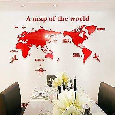 Mapa Del Mundo Acrílico 3d Pegatinas De Pared Decoración De Cristal Tridimensional Oficina Estudio Sala De Estar Sofá Fondo Pegatinas De Pared 230 * 120cm Rojo: Amazon.es: Bricolaje y herramientas