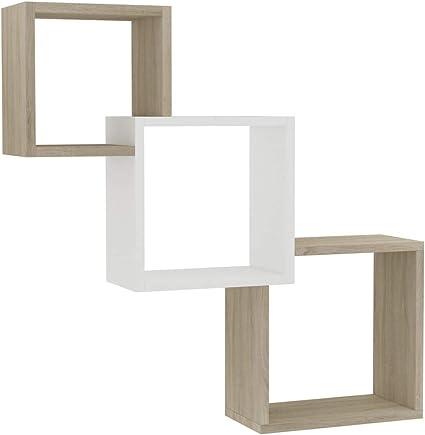 vidaXL Estantes de Pared Cubo Aglomerado Mobiliario Decoración Ideal Elegante Práctico Versátil Atractivo Robusto Duradero Blanco/Sonoma 84.5x15x27cm