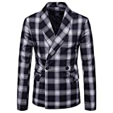 Men's Jacket for Fashion Men's Autumn Winter Plaid Suit Lapel,Top Coat (M,Navy)