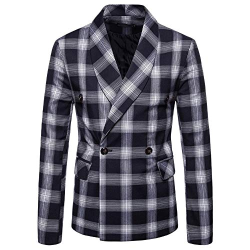 Men's Jacket for Fashion Men's Autumn Winter Plaid Suit Lapel,Top Coat (M,Navy) by Ennglun Jacket mens Coats