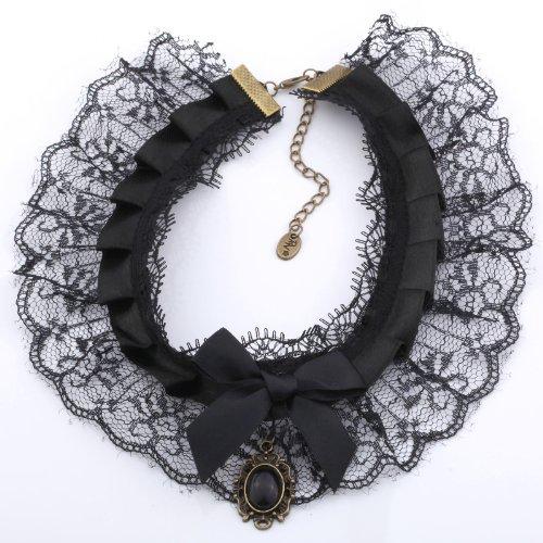 Yazilind bijoux de collier arc noir perles Cravate Dentelle baisse foulard collier fait Lolita Punk retro
