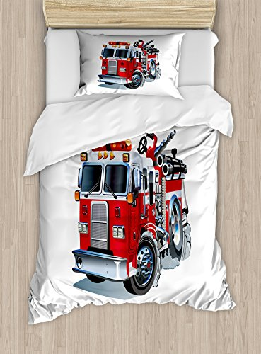 Ambesonne Truck Duvet Cover Set, Fire Brigade Vehicle Emergency Aid for Public Firefighter Transportation Themed Lorry, Decorative 2 Piece Bedding Set with 1 Pillow Sham, Twin Size, Grey Red