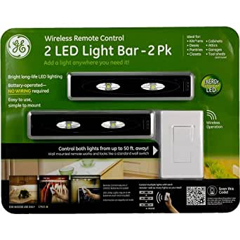 ge remote control led light 17521 2 pack battery under cabinet lighting. Black Bedroom Furniture Sets. Home Design Ideas