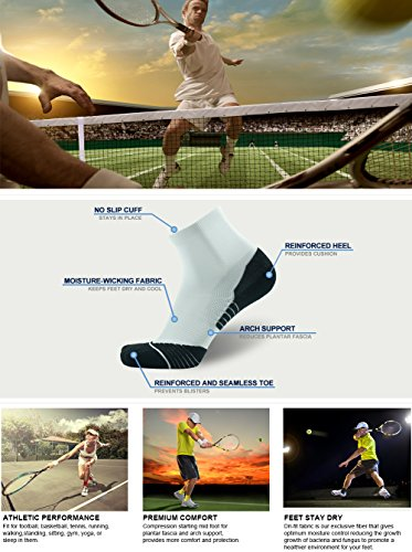 Quarter Tennis Socks HUSO Pure Color Cool No Blister Keeps Feet Cool & Dry Socks for Men's Teenager's 6 Pairs (Multicolor, L/XL)