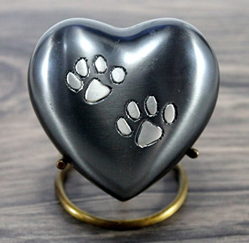 (eSplanade Heart Shaped Pet Cremation urn Memorial Container Jar Pot | Brass Urns| Metal Urns| Burial Urns| Memorial Keepsake| Urns for Pets, Dogs, Cats)