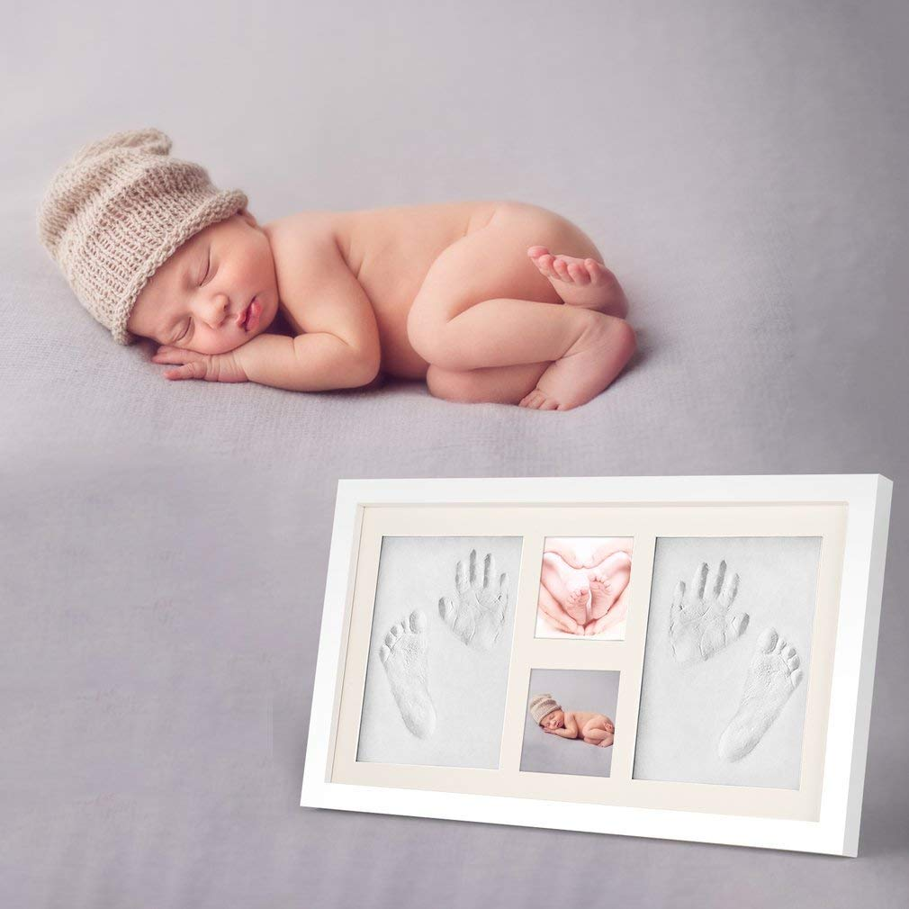 Businesscastle Baby Handprint Footprint Picture Frame Kit-HOBFU 1.9x10.5x18 inches Keepsake Box for Boys and Girls Memorable Idea for Registry Personalized Table and Wall Photo Decoration
